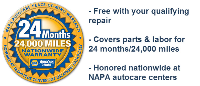 Get the NAPA Warranty - 24 months/24,000 miles - at Medford Auto Care